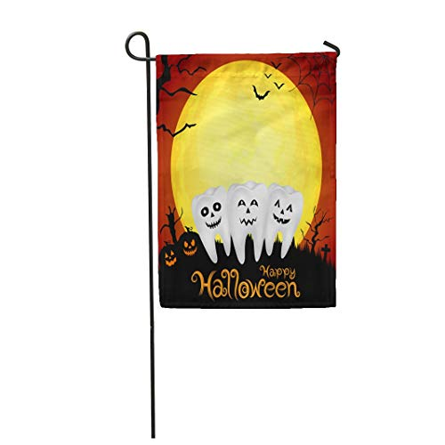 Tarolo Decoration Flag Brown Dentist Teeth Character Pumpkin in Moon Night on Halloween for Orange Dental Fear Thick Fabric Double Sided Home Garden Flag 12