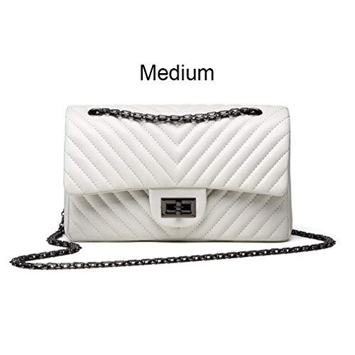 - ANANXILA Small Shoulder Bag Lady V Stripe Crossbody Bags Women Messenger Medium White