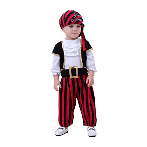 May's Baby Boys Captain Infant Costumes Cap Stinker Pirate Costume 4pcs Set (3-4 Years)]()