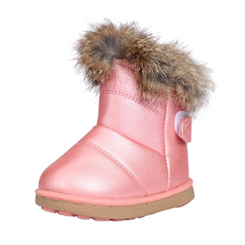 Image of the Kimloog Baby Girls Winter Waterproof Fur Warm Martin Snow Boots Anti-Slip PU Leather Flat Shoes Outwear (Pink, 7 M US Toddler)