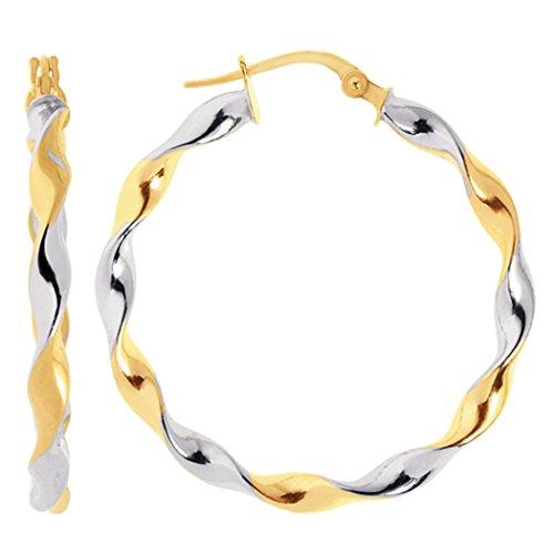 14K 2 Tone Gold Round Twisted Tube Hoop Earrings. Diameter 30mm