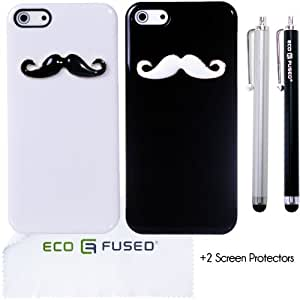 ECO-FUSED® 7 pieces 3D Chaplin mustache Case Cover Shell For iPhone 5 5S 5GS lovers & couple / Two 3D Chaplin mustache Hard Case Cover Shell (Black and White) / Two Stylus (Long Black, Short Silver) / Two Screen Protector - ECO-FUSED® Microfiber Cleaning Cloth included