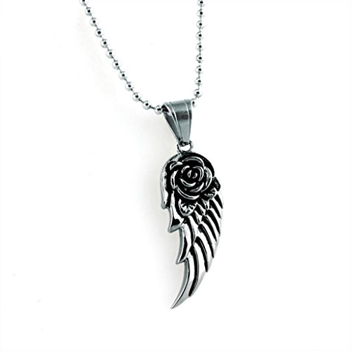 Stainless Steel Pendant Necklace for Unisexs Vintage Single Wing White Black Length 42 MM