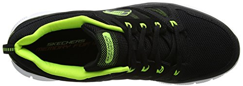 Skechers Sport Heren Flex Advantage Traagschuim Trainingsschoen Zwart / Limoen