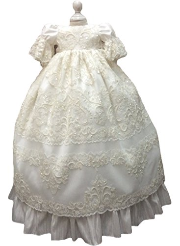 Newdeve Baby Girls Special Occasion Dress For Christening Baptism Wedding Birthday (6-9 Months, Ivory) by New Deve