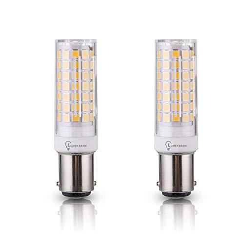 LumenBasic BA15d LED Bulb Double Batyonet Base Daylight White 7w 7 watt 50 watt - 60 watt Halogen Equivalent Replaces JD Type T3/T4 Bulbs (Pack of 2)