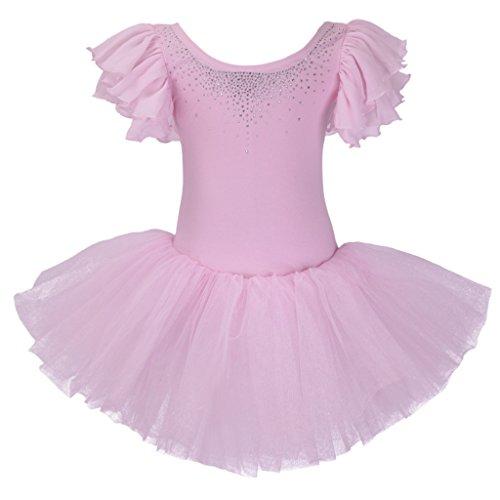 Meeyou Little Girls' Rhinestone Ornament Ballet Tutu Dress(5,Pink) (Ballet Rhinestones)
