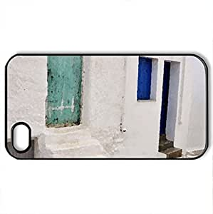 White and blue 2 - Case Cover for iPhone 4 and 4s (Houses Series, Watercolor style, Black)