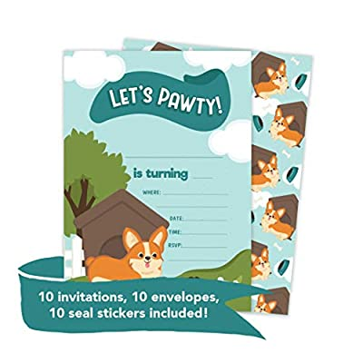 Corgi 1 Happy Birthday Invitations Invite Cards (10 Count) With Envelopes Boys Girls Kids Party (10ct): Toys & Games