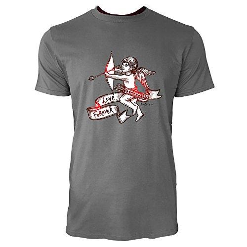 SINUS ART ® Vintage Amor mit Pfeil und Bogen Herren T-Shirts in Grau Charocoal Fun Shirt mit tollen Aufdruck
