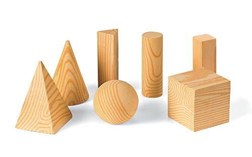 ETA hand2mind Wood Geometric Solid Shape Blocks (Set of 7) (Geometric Set Wooden Solids)