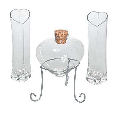 Heart Shaped Glass Sand Ceremony Set (4 piece kit) Includes heart bottle with cork, vases and a metal stand