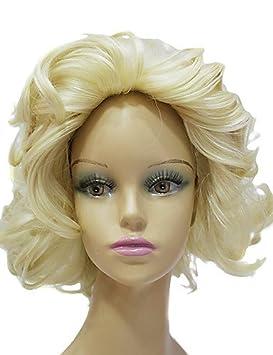 XH@G Sintético de alta calidad kanekalon japonés Marilyn Monroe corto peluca de pelo rizado