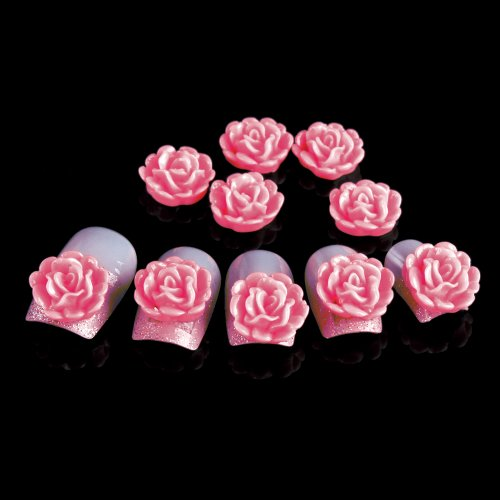 Yesurprise 20pcs Acrylic 3D Big Flower Stickers Beads Nail Art Tips DIY Decorations 10mm Pink