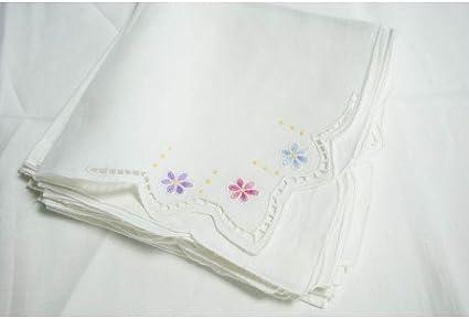 Mantel redondo bordado a Mano Lino Puro-tallar y flores ...