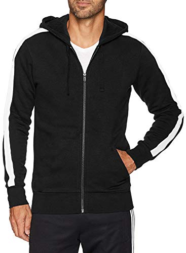 - Men's Fitted Stripe Casual Workout Sweatshirt Zip Up Hoodie Top (M,Black