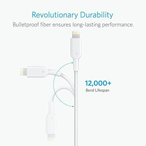 Anker PowerLine II Lightning Cable (6ft), Probably The World's Most Durable Cable, MFi Certified for iPhone 7 / 7 Plus / 6 / 6 Plus / 5S (White)