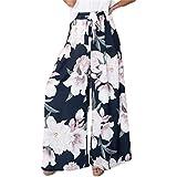 BerryGo Women's Boho High Waist Wide Leg Pants Floral Print Summer Beach Pants Navy Blue,L