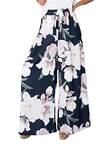 BerryGo Women's Boho High Waist Wide Leg Pants Floral Print Summer Beach Pants Navy Blue,L
