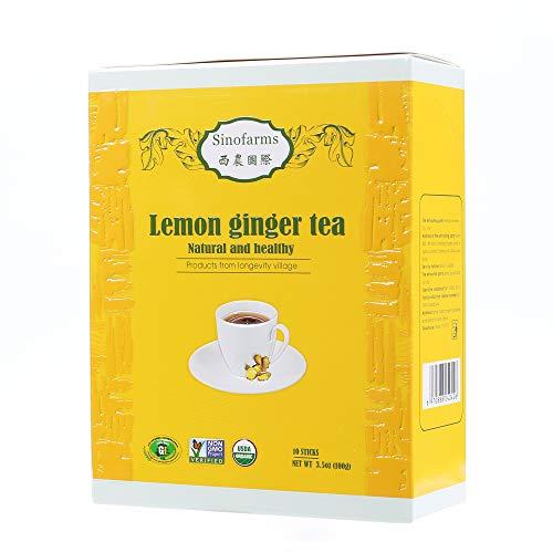 Sinofarms Certified Organic Ginger Root Tea, Instant Ginger Lemon Tea Crystals, 10 Sachets 100g