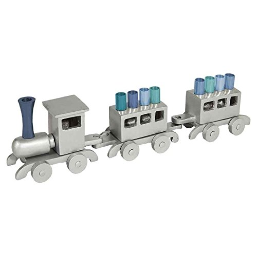 Hanukkah Menorah in Train Design with Blue Candleholders by Yair Emanuel by World Of Judaica