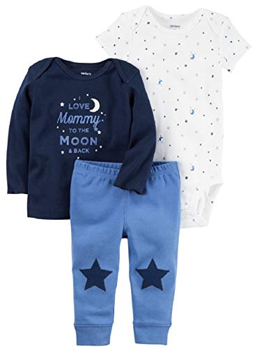 Carters Knit Set - Carter's Baby Boys' 3 Pc Back Art 126g423 (Multi Blue Print, 12 Months)