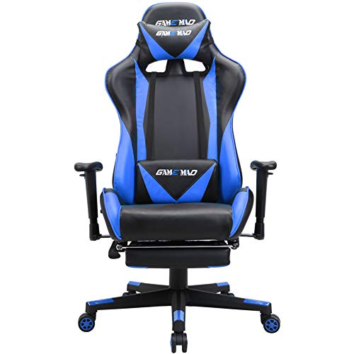 GAMEMAD High Back PU Leather Swivel Gaming Chair with Adjustable Lumbar Support Headrest Racing Office Chair (Blue)
