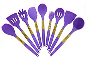 Cooking Utensils – Kitchen Utensil Set Of 9 Pieces Made Of Silicone & Beech Wood – Kitchen Cooking Tool Set, In Purple & Light Green –High Heat Resistant By Kuche (Purple)