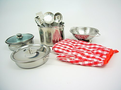 11 pieces Metal Pots and Pans with cooking utensils Set Pretend Play for Kids