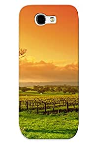 Exultantor Rugged Skin Case Cover For Galaxy Note 2- Eco-friendly Packaging(sunset Field Tree Landscape )