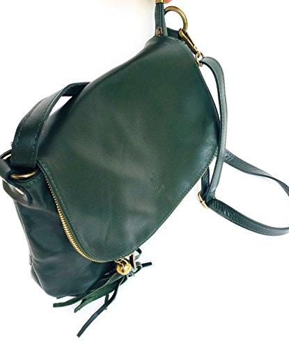vert à bandoulière Superflybags cuir Media rabat Italy avec souple modèle foncé Sac véritable Made Mada en 6aaxq5E4