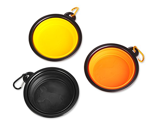 DS.DISTINCTIVE STYLE Collapsible Dog Bowls with Hanging Hooks 3 Pieces Portable Dog Water Bowl Silicone Travel Bowls for Cats -