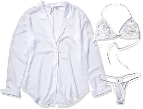 Dreamgirl Women's Chiffon Shirt Style Robe with Halter Top Bra and Thong, White, Medium