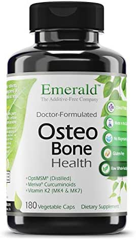 Osteo Bone Health - with Meriva Phytosome + Opti MSM Vit K2 (MK4 & MK7) & MCHA Calcium - Support for Strong Bones, Joint Strength, & Immune Support - Emerald Labs - 180 Vegetable Capsules