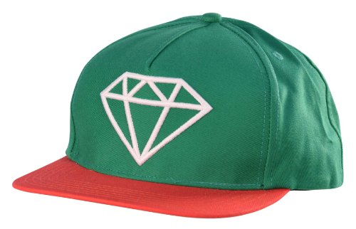 Diamond Supply Co. Rock Logo Snapback Hat Cap-Green/Red-Adjustable (Supply Co Accessories Diamond)