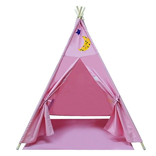 YiFi-Tek Canvas Teepee Tent for Kids with Floor Mat and Carrying Bag (Pink)