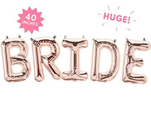 40'' BRIDE Rose Gold Huge Balloons For Shower Bachelorette Party Decorations by Rose&Wood (Image #1)