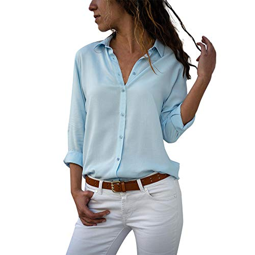 - Aniywn Women Casual Chiffon Long Sleeve Shirt Tops Stand Collar Office Lady Formal Loose Blouse
