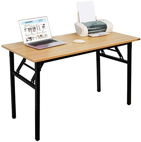 NeedHome Computer Desk 55inches Office Desk Folding Table Computer Table Workstation No Install Needed,Teak AC5BB-140-HCA