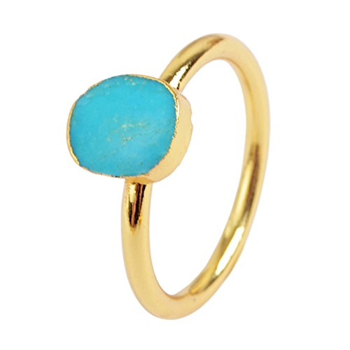 (ZENGORI 1 Pcs Gold Plated Freeform Natural Genuine Turquoise Ring for Women Size 7 G1513-2)