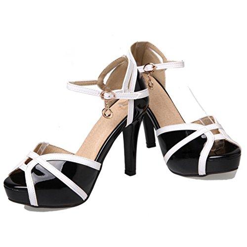 FANIMILA Mujer Moda Correa de tobillo Plataforma Sandalias Chic Tacon alto Delgado Peep Toe Zapatos Negro