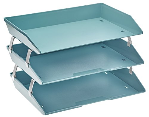 - Acrimet Facility 3 Tier Letter Tray Plastic Desktop File Organizer (Solid Green Color)