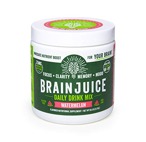 BrainJuice Brain Booster Daily Drink Mix, Watermelon | Supplement for Improved Energy, Memory, Focus, Clarity & Mood, Gluten-Free, Non-GMO | 15 Servings