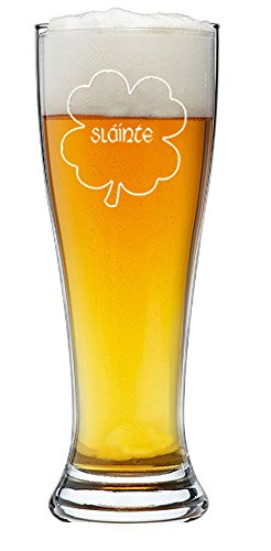 Irish Gaelic Cheers Slainte Green Shamrock Toast - 15 oz Pilsner Beer (Shark Glass Pilsner Glass)