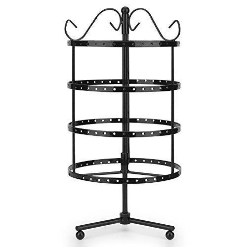 Flexzion 4 Tiers Earring Holder Jewelry Organizer 92 Pairs - Necklace Rotating Spin Stand Display Bracelet Ring Pendants Tabletop Storage Store Rack Tower with Hook on Top for Women Girl (Black) Display Stand Black Rotating Earring