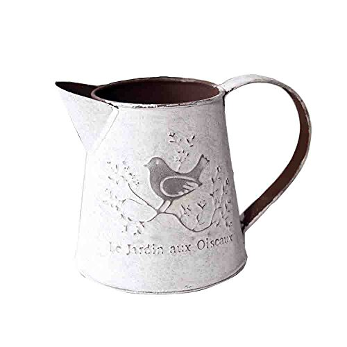 Watering Honey French Style Rustic White Shabby Chic Mini Metal Pitcher Vase Primitive Jug Vase For Home Cafe Decor ()