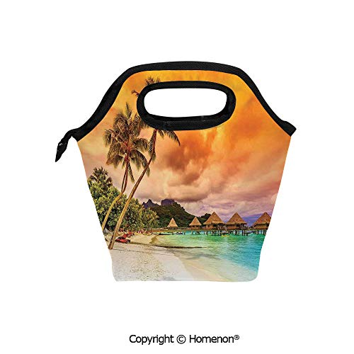 Insulated Neoprene Soft Lunch Bag Tote Handbag lunchbox,3d prited with Mountain Beach and Palm Trees Golden Clouds at Sunset Romantic View,For School work Office Kids Lunch Box & Food Container