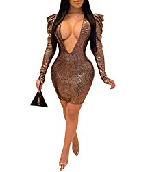Brown Sequin V Neck Puff Long Sleeve Solid Sequins Dress