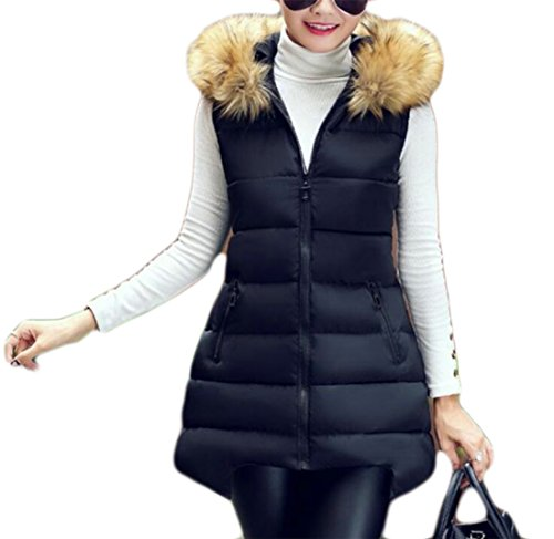 KLJR-Women Outdoor Plus Size Puffer Down Vest With Faux Fur Hood Black US (Down Vest Fur Hood)