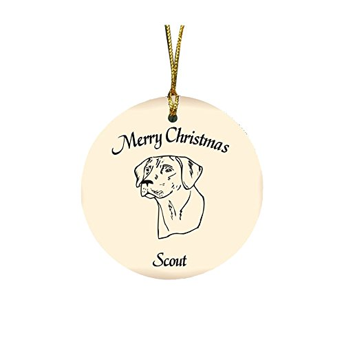 GiftsForYouNow Dog Breed Personalized Christmas Ornament, Rhodesian Ridgeback ()